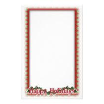 Christmas Holly Wreath Holiday Writing Stationery