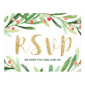 Christmas Holly Wreath Menu Choice RSVP