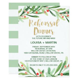Christmas Holly Wreath Rehearsal Dinner Invitation