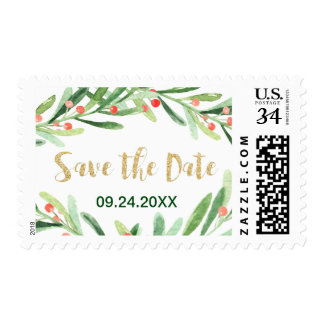 Christmas Holly Wreath Save the Date Postage