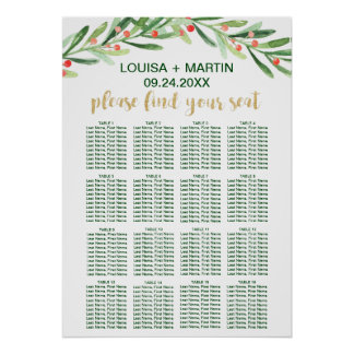 Christmas Holly Wreath Seating Chart