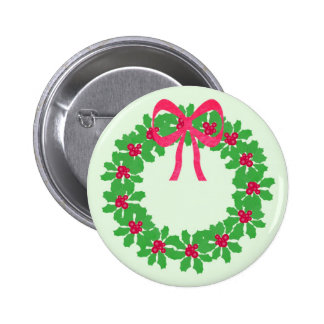 Christmas Holly Wreath T-Shirts, Cards, Gifts Pinback Button