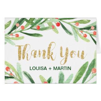 Christmas Holly Wreath Thank You Card