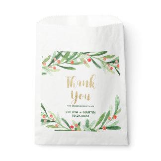 Christmas Holly Wreath Thank You Favor Bag
