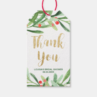 Christmas Holly Wreath Thank You Gift Tags