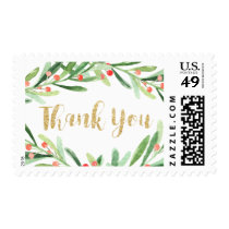 Christmas Holly Wreath Thank You Postage