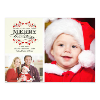 Christmas Holly Wreath Typography 2-Photo Card Personalized Invites