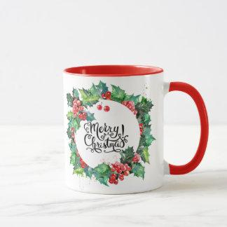 Christmas Holly Wreath Typography Red Holiday Mug