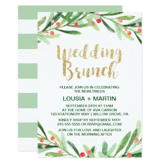 Christmas Holly Wreath Wedding Brunch Card
