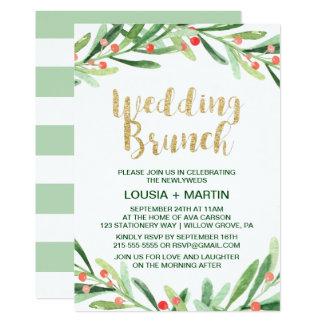 Christmas Holly Wreath Wedding Brunch Invitation