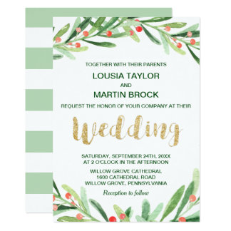 Christmas Holly Wreath Wedding Invitation
