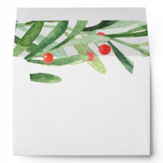 Christmas Holly Wreath Wedding Invitation Envelope