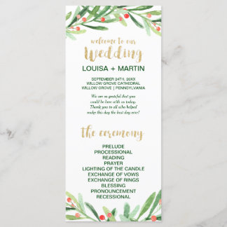 Christmas Holly Wreath Wedding Program