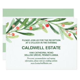 Christmas Holly Wreath Wedding Reception Insert Invitation