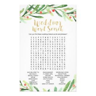 """Christmas Holly Wreath """"Wedding Word Search"""" Game Flyer"""