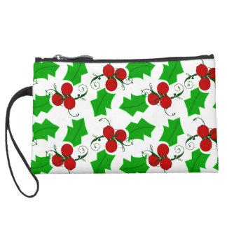 Christmas Holly Wristlet Bag