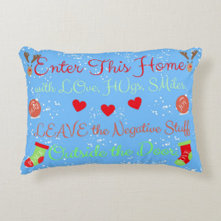 CHRISTMAS Home of Love, Peace, Joy, Hugs Pillow