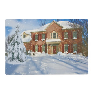 Christmas, Home with Snowy Scene Placemat