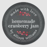 """Christmas Homemade Cranberry Jam Chalkboard Classic Round Sticker<br><div class=""""desc"""">Rustic and modern homemade Christmas jam canning cranberry jam jar sticker with the text made with love, homemade cranberry jam and your name in modern script on a chalkboard background. Simply add your name and the product name to the label. Exclusively designed for you by Happy Dolphin Studio. If you...</div>"""