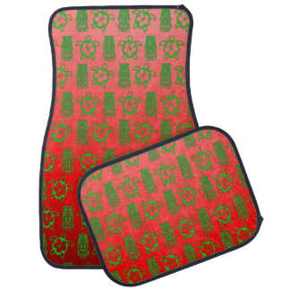 Christmas Honu And Tiki Car Floor Mat