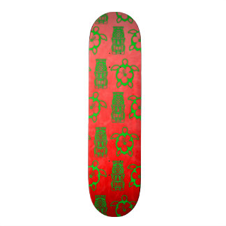 Christmas Honu And Tiki Skateboard