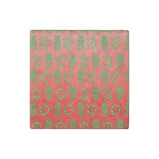 Christmas Honu And Tiki Stone Magnet