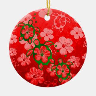 Christmas Honu Turtles Ceramic Ornament