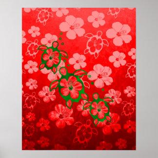 Christmas Honu Turtles Poster