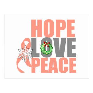 Christmas Hope Love Peace Endometrial Cancer Postcard