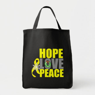 Christmas Hope Love Peace Testicular Cancer Grocery Tote Bag