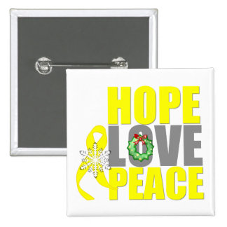Christmas Hope Love Peace Testicular Cancer 2 Inch Square Button