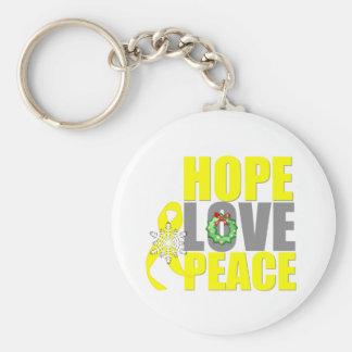 Christmas Hope Love Peace Testicular Cancer Basic Round Button Keychain