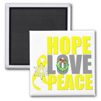 Christmas Hope Love Peace Testicular Cancer 2 Inch Square Magnet