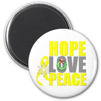 Christmas Hope Love Peace Testicular Cancer 2 Inch Round Magnet