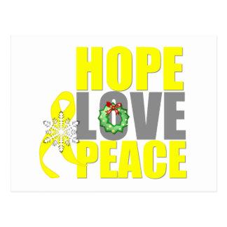 Christmas Hope Love Peace Testicular Cancer Postcard