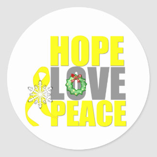 Christmas Hope Love Peace Testicular Cancer Classic Round Sticker