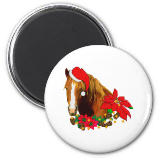Christmas Horse 2 Inch Round Magnet