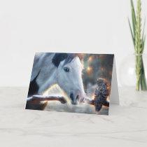 Christmas Horse and Beautful Owl Card