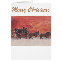Christmas Horse and Carriage in the Snow Card
