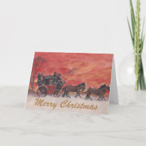 Christmas Horse and Carriage in the Snow Holiday Card