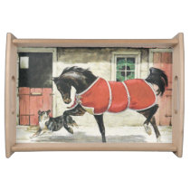 Christmas Horse and Dog Friend Vintage Serving Tray