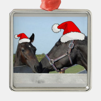 Christmas Horse and Pony Square Metal Christmas Ornament
