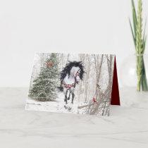 Christmas Horse & Cardinals Folded Greeting Card