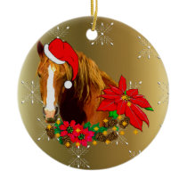 Christmas Horse Ceramic Ornament
