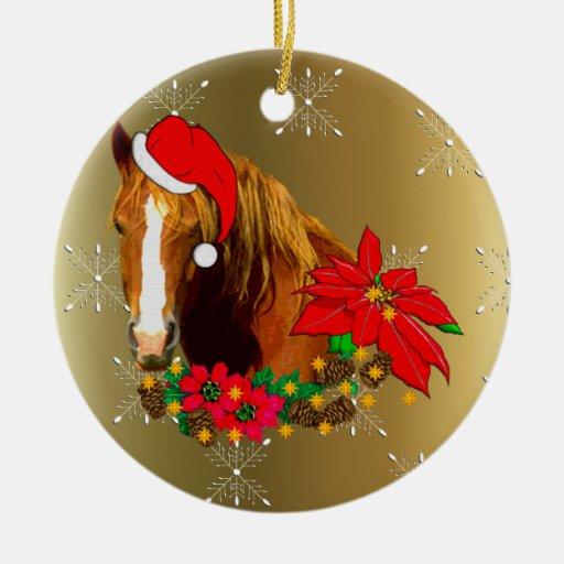 Christmas horse ceramic ornament zazzle