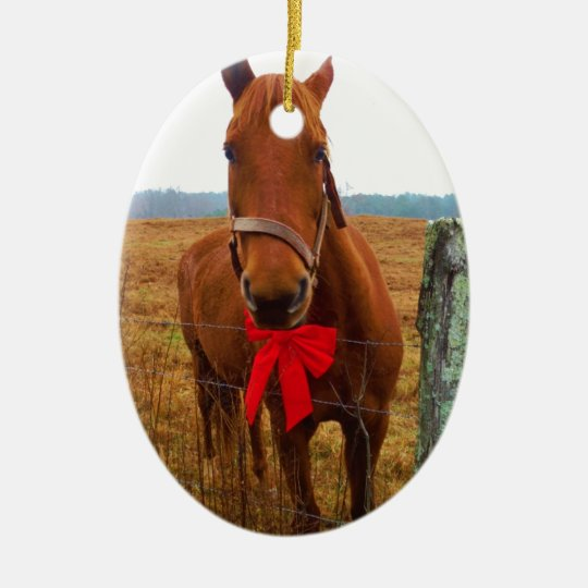 Christmas Tree Ornaments Horse: Christmas Horse Ceramic Ornament