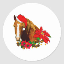 Christmas Horse Classic Round Sticker