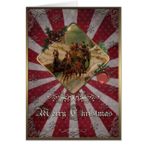 Christmas Horse-drawn carriage on the winter road. Card