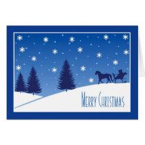 Christmas Horse Drawn Sleigh Snow Scene Blue Card
