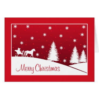 Christmas Horse Drawn Sleigh Snow Scene Red Card